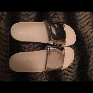 Shoes - CHROME slides size 11